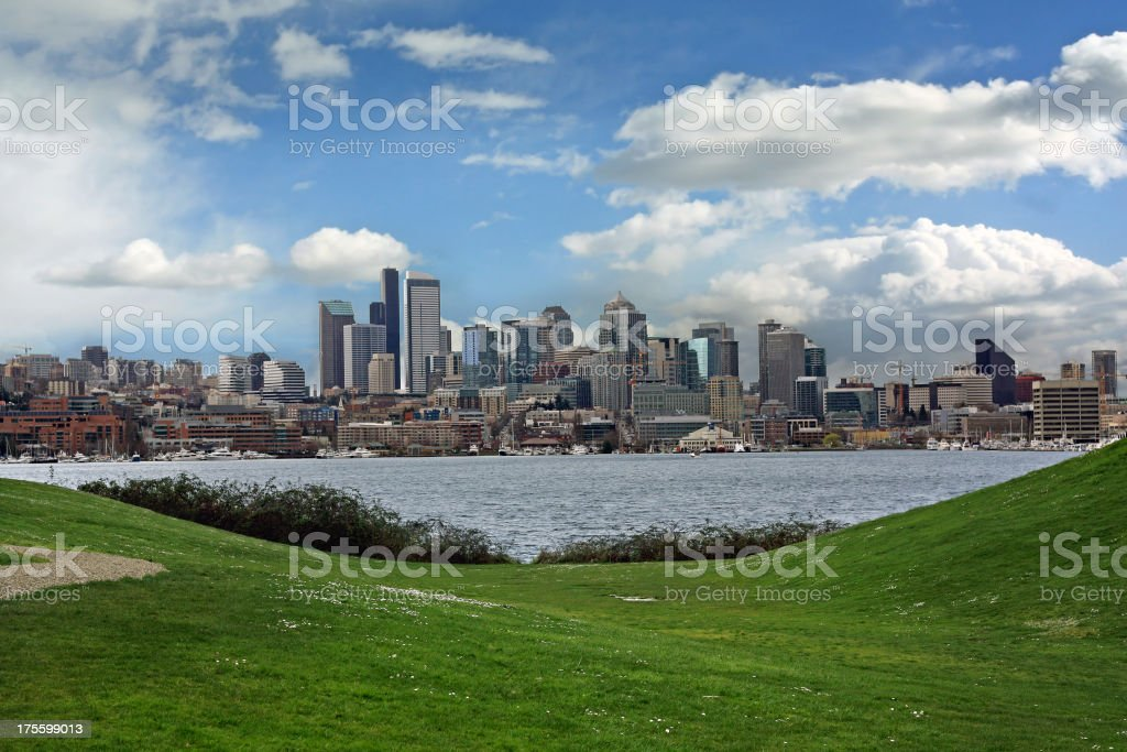 Seattle Skyline from Gasworks Park stock photo