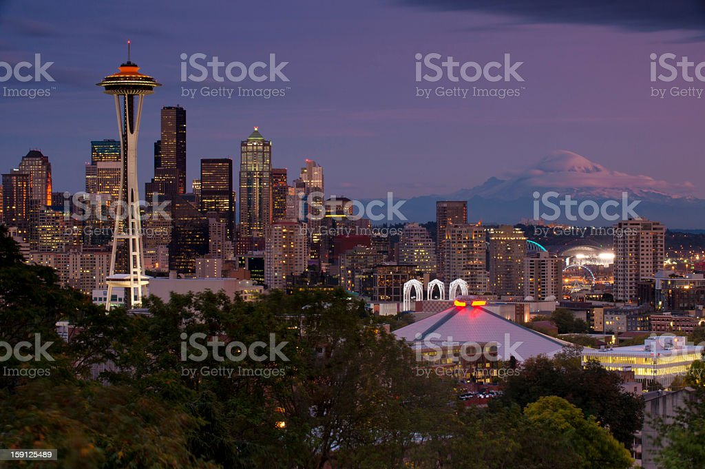 Seattle Skyline from kerry park in pacific northwest at sunset stock photo