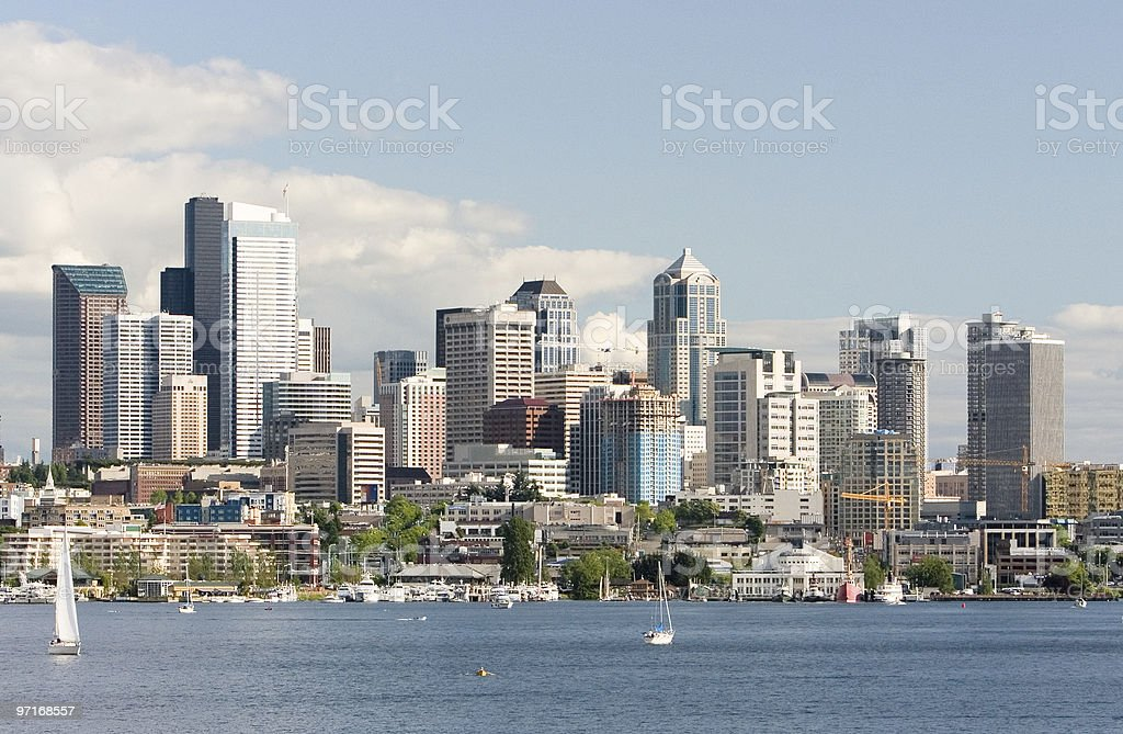 Seattle skyline from Lake Union stock photo
