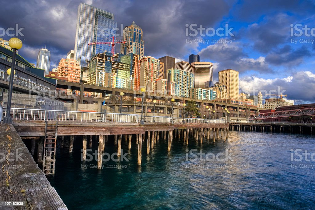 Seattle skyline from the waterfront stock photo