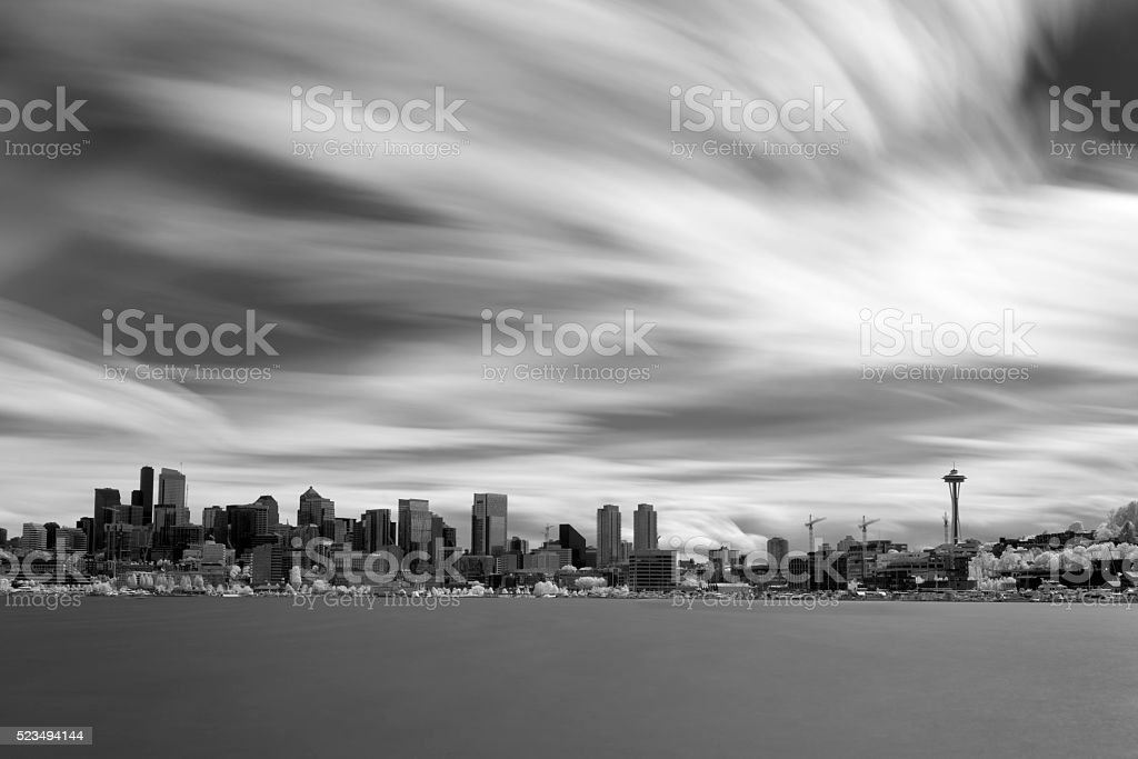 Seattle Skyline Long Exposure Infrared stock photo