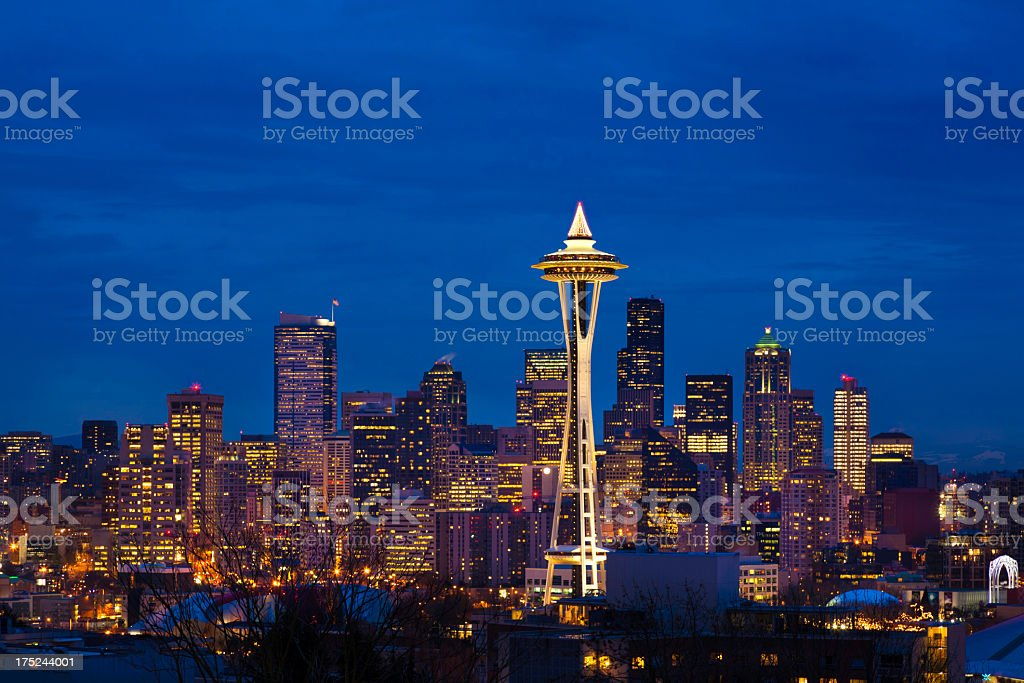 Seattle skyline night at Christmas stock photo