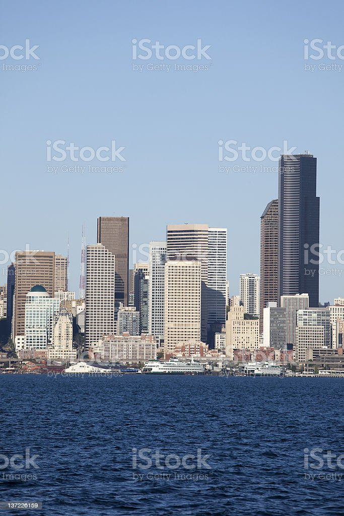 Seattle skyline on a clear summer day stock photo