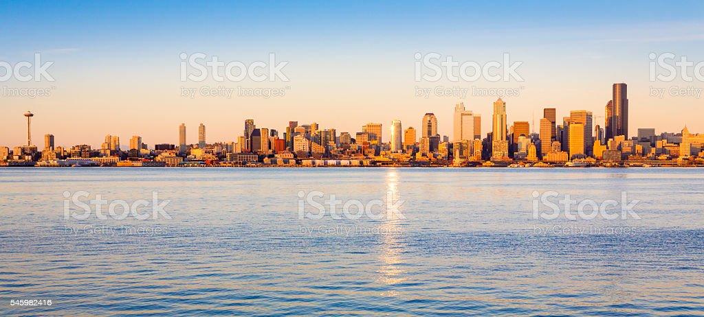 Seattle skyline panorama and waterfront at sunset, Washington, USA stock photo