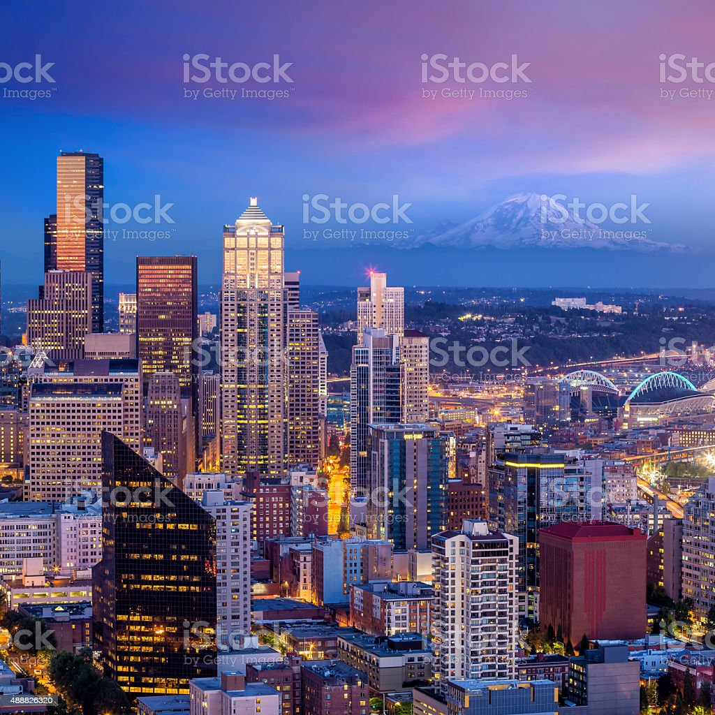 Seattle skyline panorama at sunset stock photo