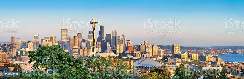Seattle skyline panorama at sunset, Washington, USA stock photo