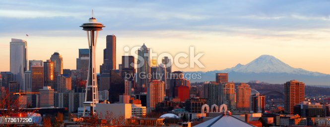 Panorama of downtown Seattle and Mt. Rainier at sunset.