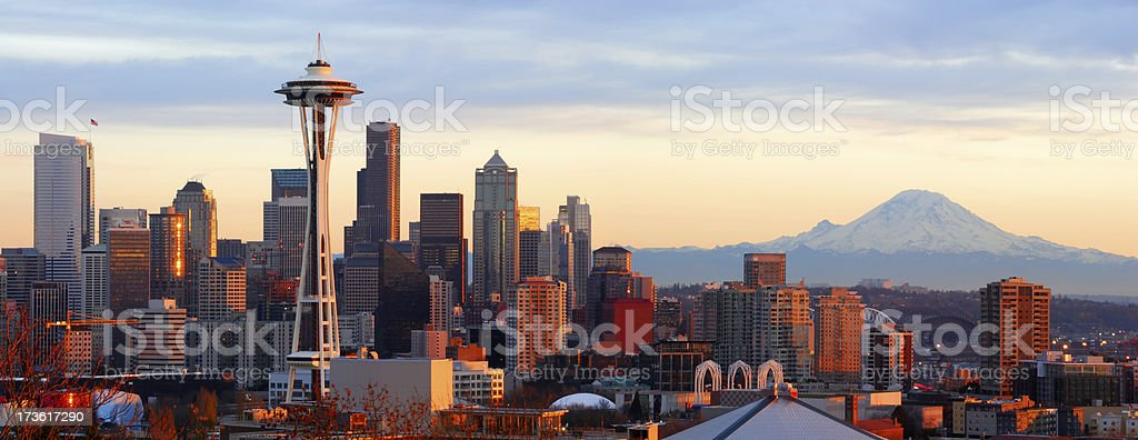 Seattle Skyline - Panorama stock photo