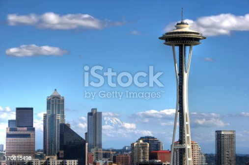 The Seattle Skyline with Mount Ranier in the background. Classic Seattle Shot of downtown skyline with the space needle from Queen Anne Hill. Mount rainier is in the background.Other Seattle photos are here: