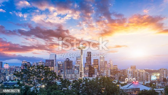 Seattle skyline, view from the Kerry Park, Seattle. WA.