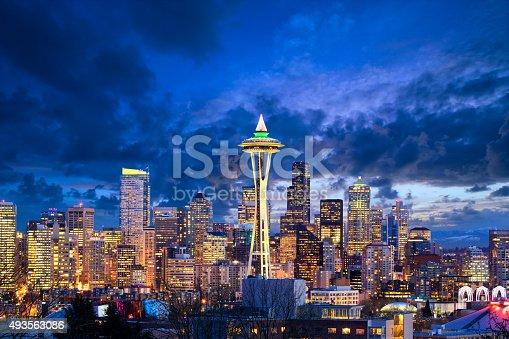 Seattle skyline at dusk, WA, United States