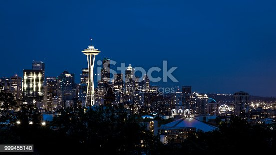 Skyline of downtown Seattle, Washington after sunset with Space Needle