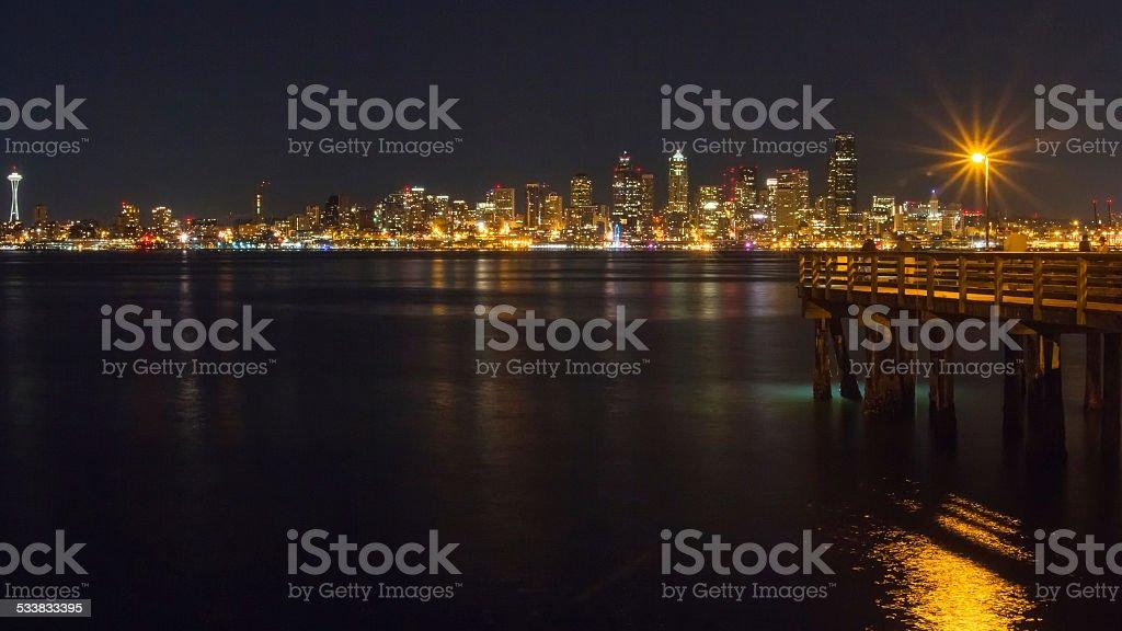 Seattle skyline, seen across Elliott Bay stock photo
