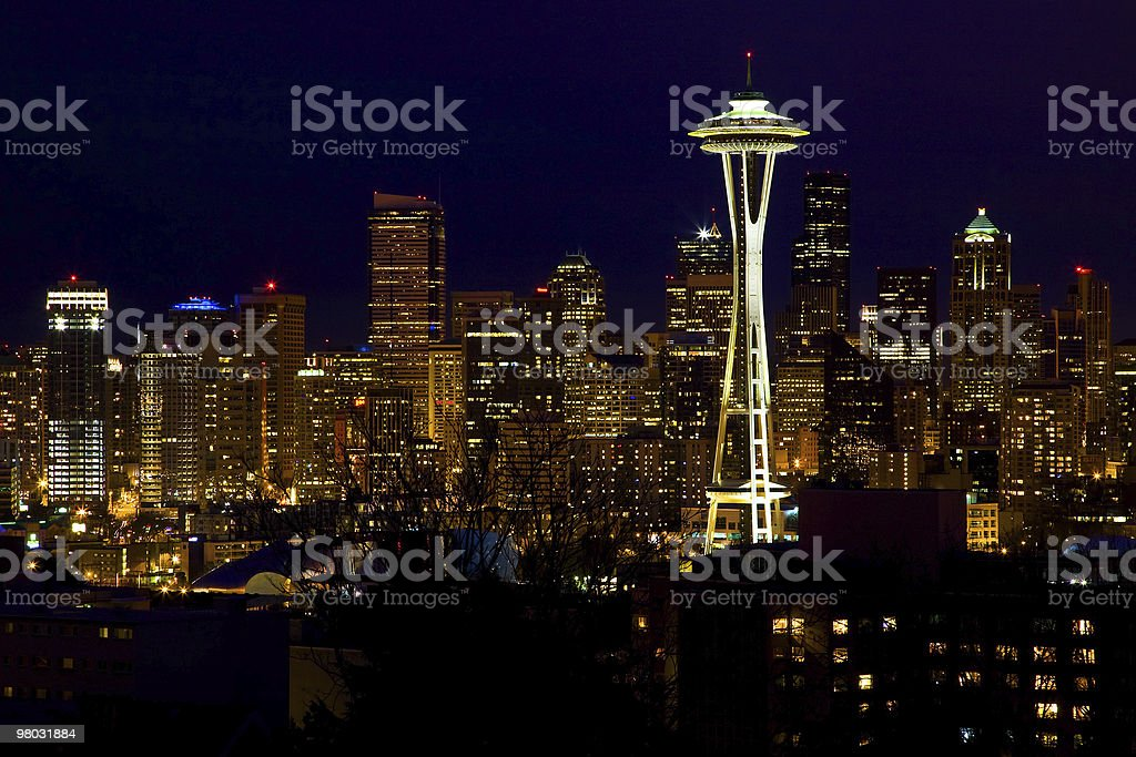 Seattle Skyline Space Needle At Night royalty-free stock photo