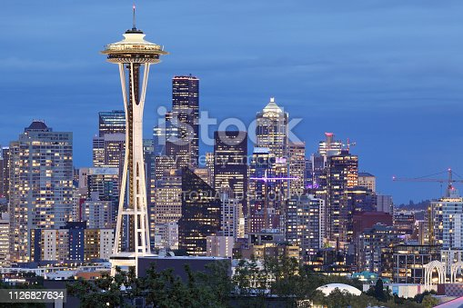 Seattle, USA - September 19, 2018: The skyline of Seattle - the biggest city in the Pacific Northwest - has 39 completed skyscrapers over 400 feet tall. The tallest skyscraper in Seattle is the Columbia Center (937 feet). The iconic feature of the skyline is the space needle (605 feet) completed in 1962.