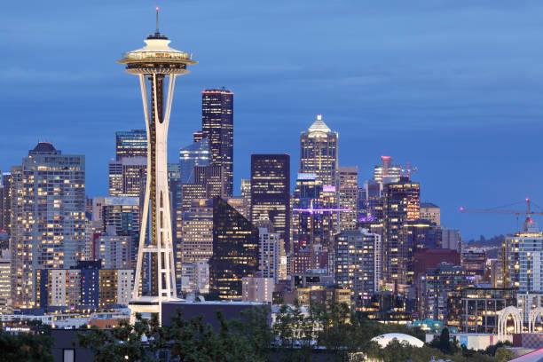 Seattle Skyline - Space Needle - Washington stock photo