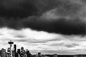 Seattle skyline under storm clouds.\nWashington state, USA