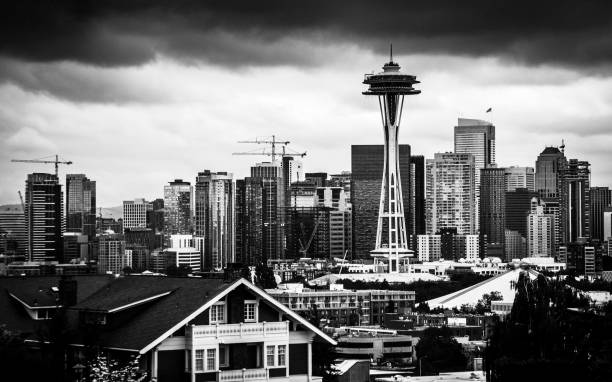 Seattle skyline under storm clouds stock photo