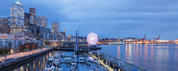 Seattle Skyline + Waterfront - Washington stock photo