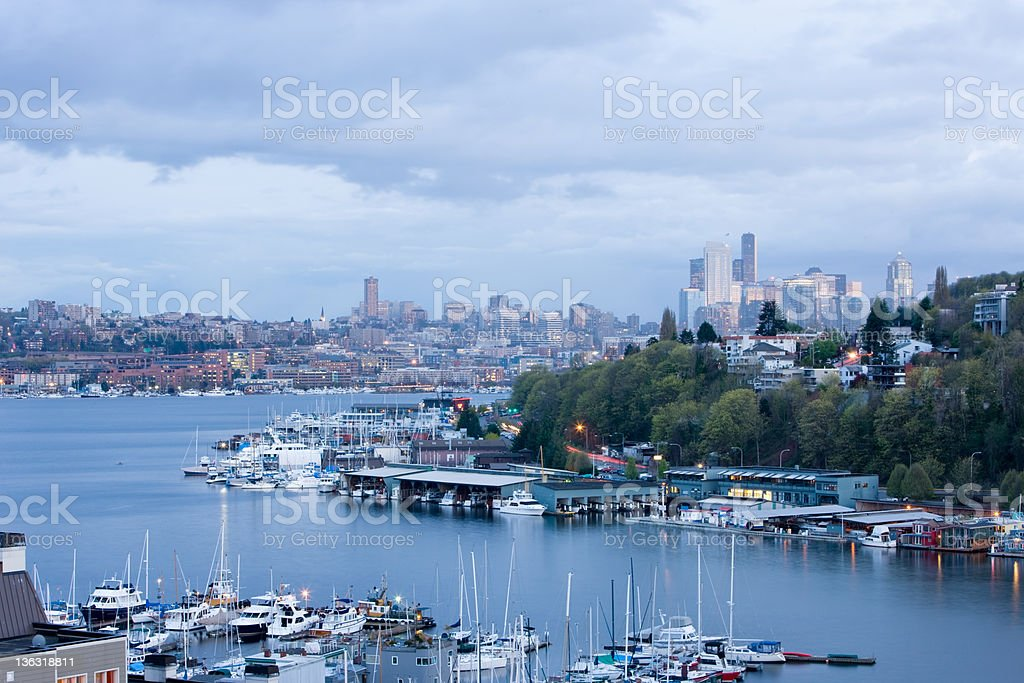 Seattle Skyline With Lake Union In Foreground stock photo