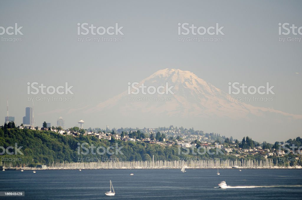 Seattle Skyline With Mt. Rainer In The Distance royalty-free stock photo