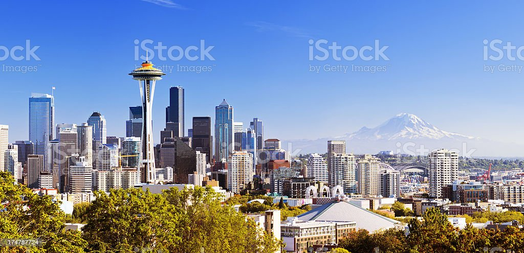 Seattle skyline with Mt Rainier in distance royalty-free stock photo