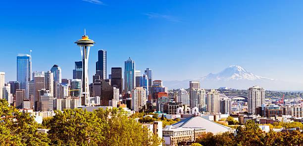 Seattle skyline with Mt Rainier in distance stock photo