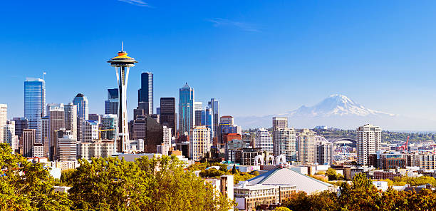 Seattle skyline with Mt Rainier in distance stock photo