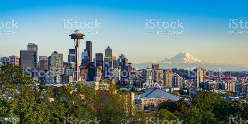 Seattle Skyline with Mt Rainier in the Background stock photo