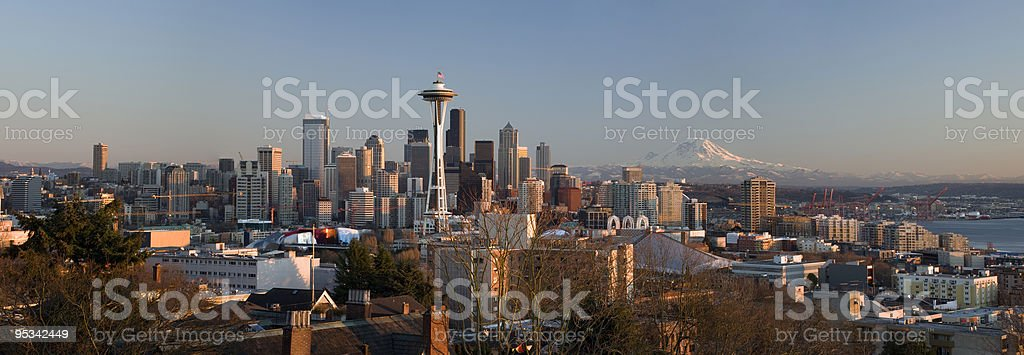 Seattle skyline with Mt. Rainier royalty-free stock photo