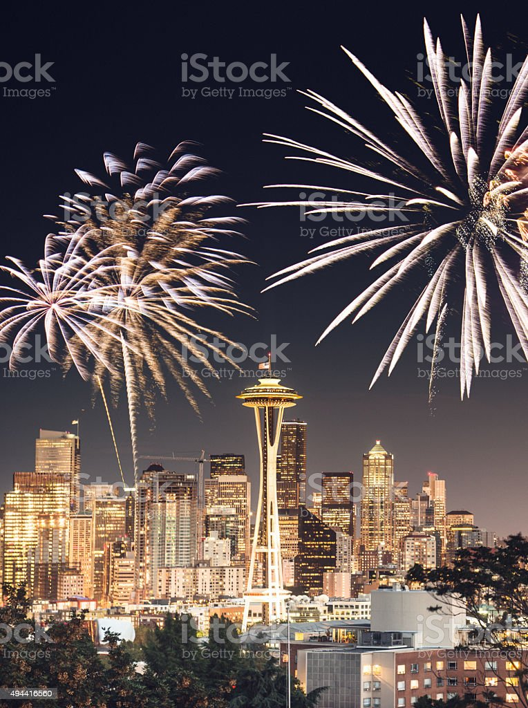 Seattle skyline with space needle tower stock photo