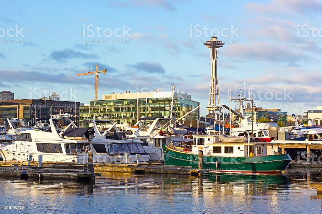 Seattle Space Needle from the waters of Lake Union. stock photo