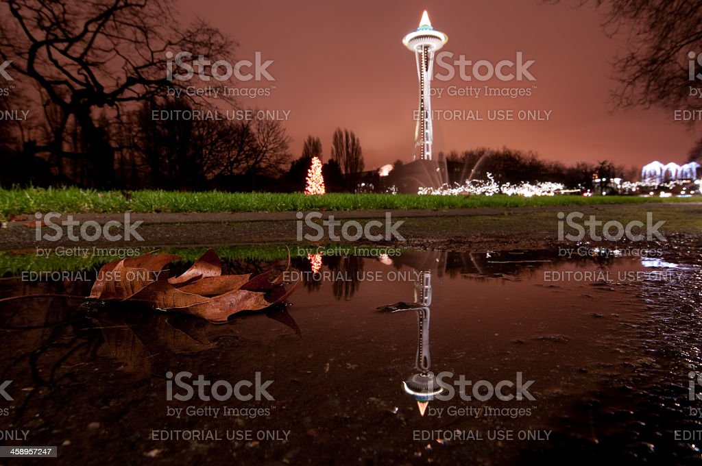 Seattle Space Needle Reflections stock photo