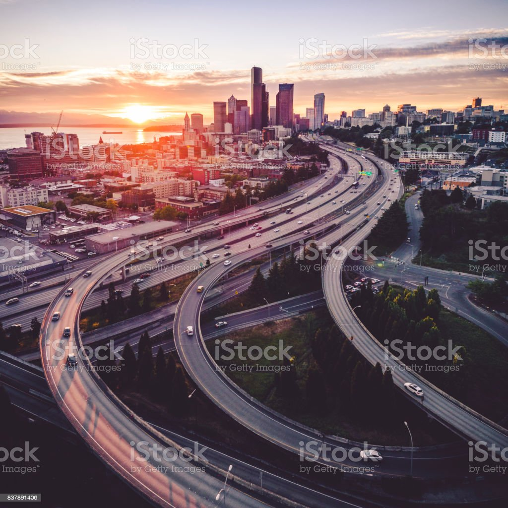 Seattle Sunset Helicopter View of Downtown City Skyline stock photo