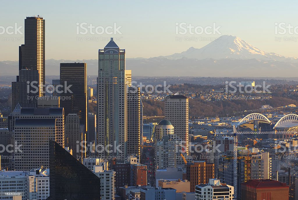 Seattle Sunset royalty-free stock photo