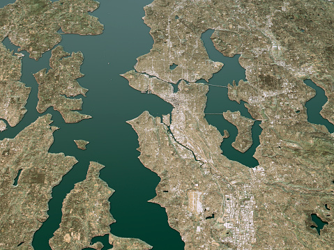 3D Render of a Topographic Map of Seattle, Washington, USA.