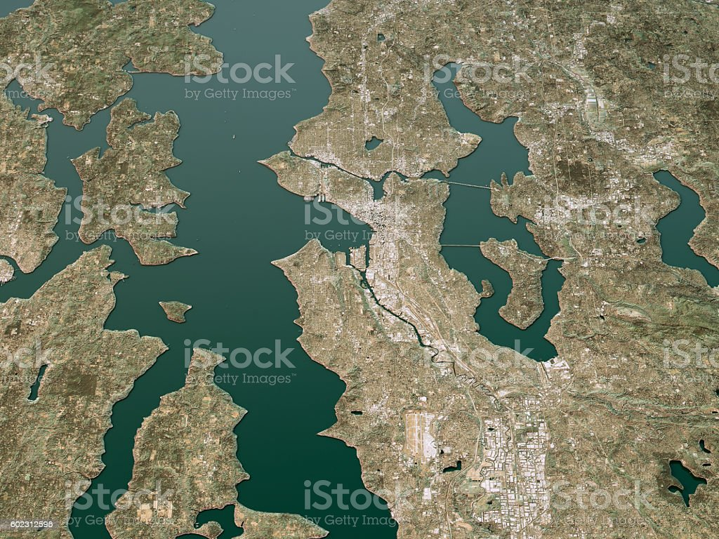 Seattle Topographic Map 3D Landscape View Natural Color stock photo