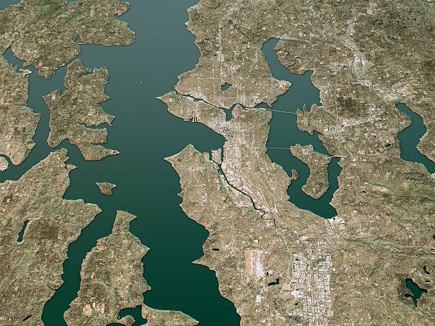 Seattle Topographic Map 3D Landscape View Natural Color 3D Render of a Topographic Map of Seattle, Washington, USA. puget sound stock pictures, royalty-free photos & images