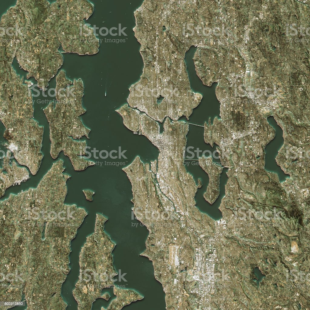 Seattle Topographic Map Natural Color Top View Stock Photo & More ...