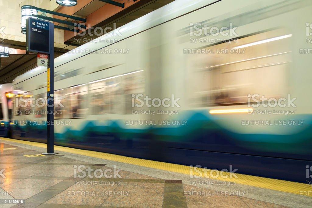 Seattle Transit tunnel stock photo