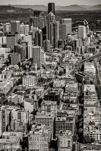 Downtown Seattle, Washington shot during a helicopter photo flight from an altitude of about 1000 feet.