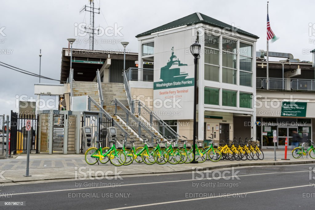Seattle, USA January 12th, 2018 Bikes Parked Outside Ferry Terminal stock photo