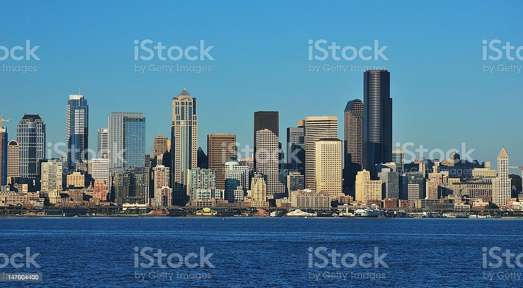Seattle view from the Waterfront stock photo