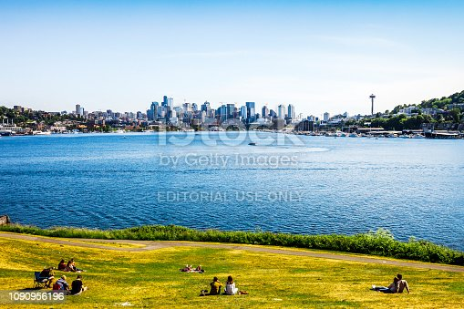 Seattle, Washington, USA - People enjoying the city view from Gas Works Park.