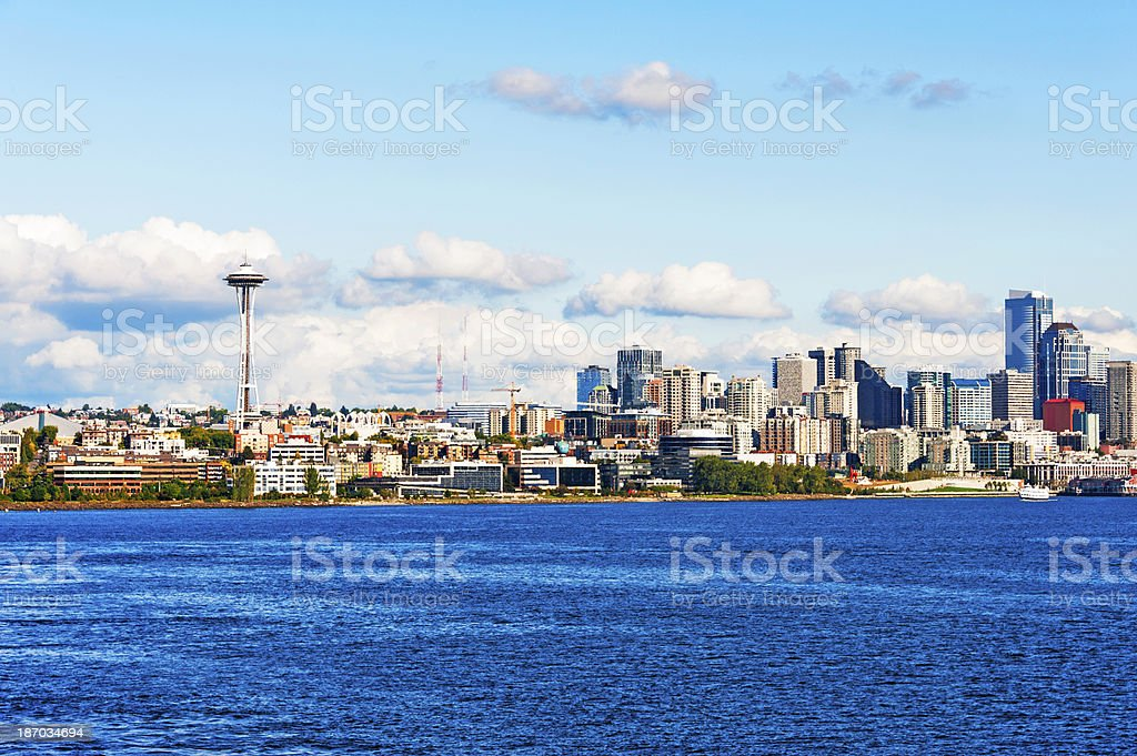 Seattle View with Ferry royalty-free stock photo