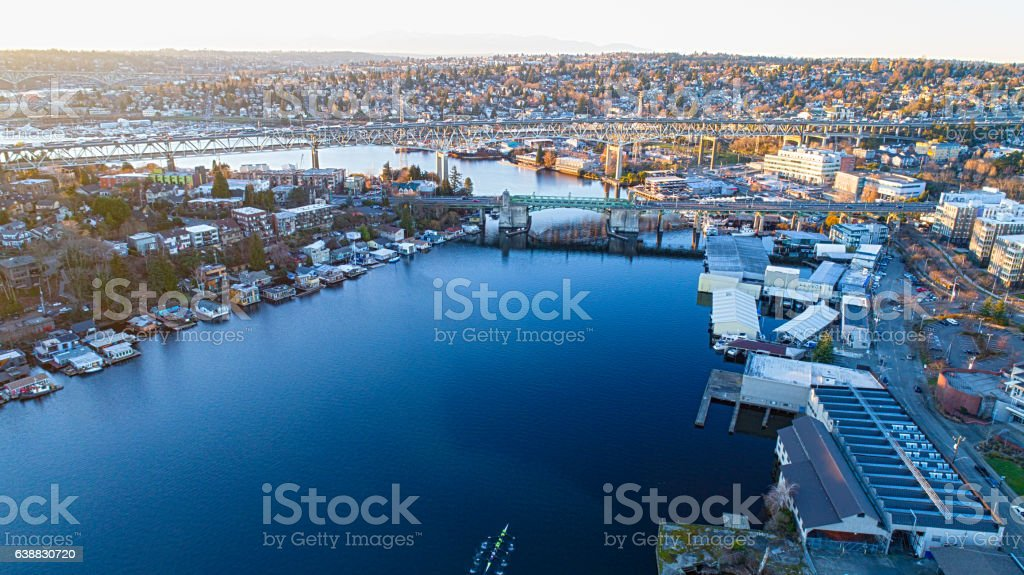 Seattle, WA - Portage Bay Lake Washington, Aurora Bridge stock photo