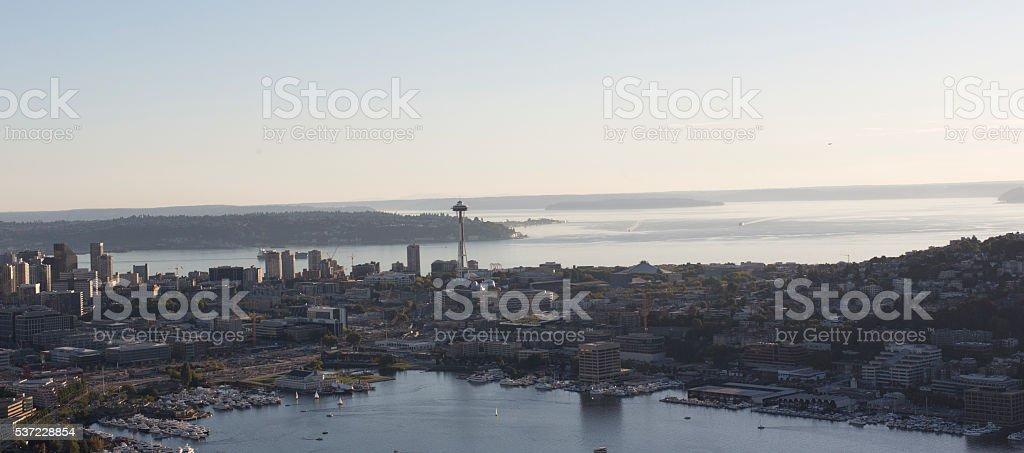 Seattle, Washington Aerial City View of Downtown Center, Lake Union stock photo