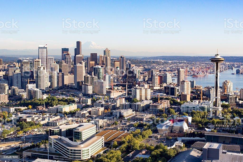 Seattle, Washington, America City Aerial View Modern Metropolis Skyline Buildings stock photo