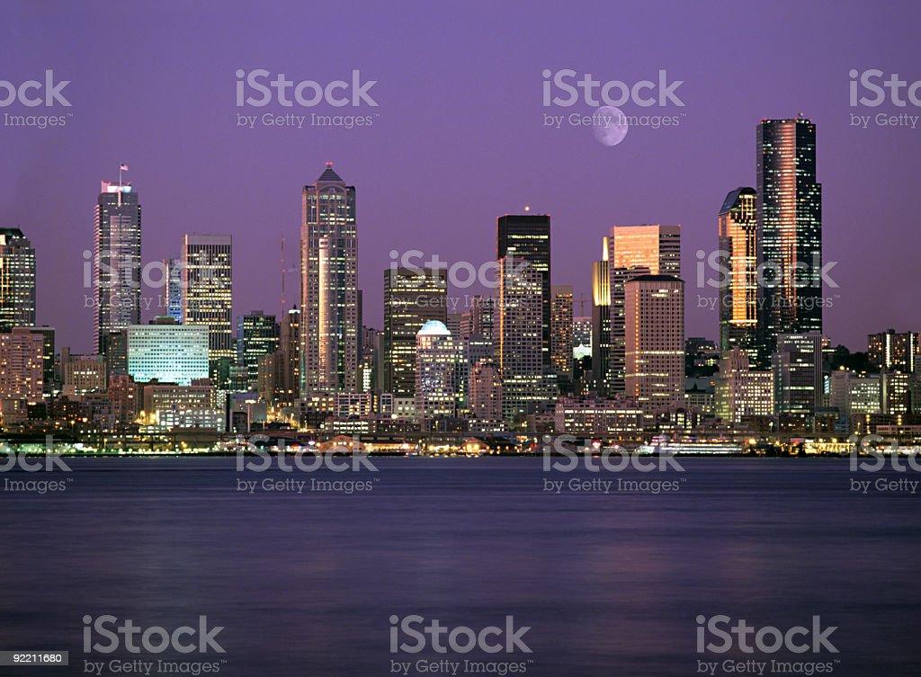 Seattle Washington City Skyline at Night stock photo