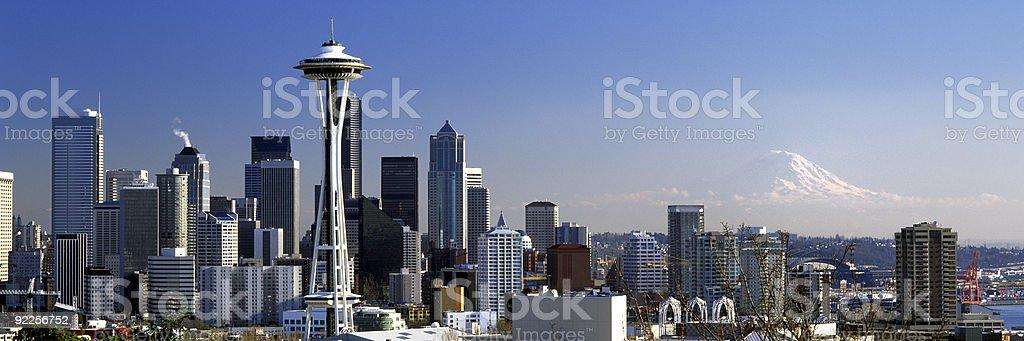 Seattle Washington City Skyline wide panoramic royalty-free stock photo